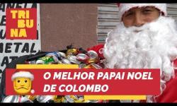 Papai Noel junta latinhas o ano todo para fazer natal de Colombo