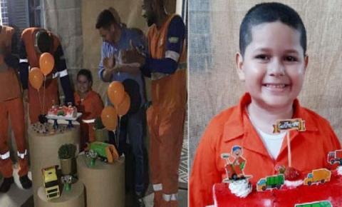 Menino de 6 anos homenageia garis em festa de aniversário em Campos